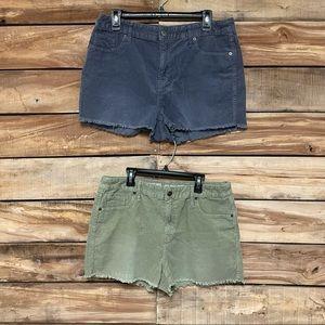 2 Mossimo size 12 shorts blue, green, corduroy